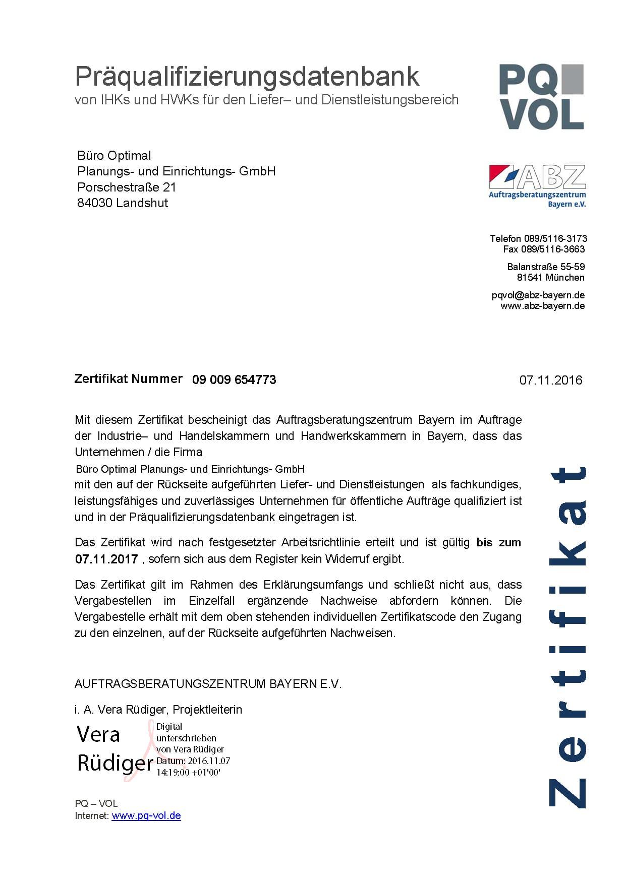 Präqualifizierung - Büro Optimal - Landshut